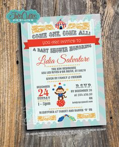 Vintage Circus Baby Shower Invitation  For by TresCutiesDesigns, $18.00