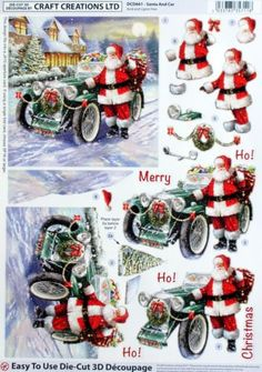 Craft Creations Easy To Use Die-Cut Decoupage Surfing Christmas Sheets, 3d Christmas, Christmas Cards To Make, Xmas Cards, Christmas Quotes, Heartfelt Creations, Quilled Creations, Kit Creation, 3 D