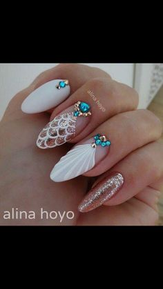 Must Try Classy Glitter Almond Acrylic Nails In 2017 – ILOVE Must Try Classy Glitter Almond Acrylic Nails In 2017 – ILOVE,Nail art The almond nail is a beautiful shape. Long White Nails, White Nail Art, White Nail Designs, Nail Art Designs, Almond Shaped Nail Designs, White Nails With Design, Anchor Nail Designs, Tropical Nail Designs, Diy Nails