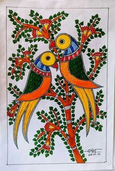 Madhubani Paintings Peacock, Kalamkari Painting, Madhubani Art, Saree Painting, Fabric Painting, Watercolor Painting, Gond Painting, Painting Tips, African Art Paintings