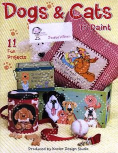 Dosgs and Cats - Rosella Horst - Álbuns da web do Picasa Pintura Country, Tole Painting Patterns, Craft Patterns, Country Paintings, Dog Crafts, Painted Books, Country Crafts, Book Quilt, Primitive Crafts