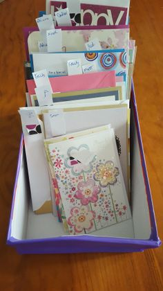 buying greeting cards in advance - diy box to organize them