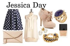 """""""Jessica Day - New Girl"""" by silvanacavero ❤ liked on Polyvore featuring Cheap Monday, Miss Selfridge, Isharya, Dune, Butter London, BaubleBar, pearl earrings, nude pumps, nude nail polish and ribbon heels"""