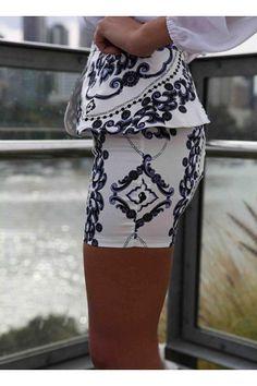 White Peplum Mini Skirt with Purple&Black Baroque Print