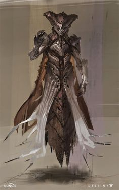 This is a digitally remastered Hive Wizard concept art drawing by Ryan DeMita for the game Destiny. The thing that I like about this piece of artwork is how the artist has managed to 'touch up' the drawing with opacity brushes to make the lower portion of the characters dress more faded, till it turns to nothing.