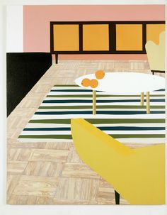 """A Living Room with Oranges, 1996, Oil and Acrylic on Canvas Over Panel, 65"""" x 52"""""""