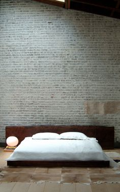 Love the brick wall. One day we will have our cool modern loft. At the beach. Does such a thing exist?
