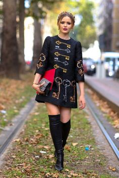 7. Key Print Dress 2017 Street Style
