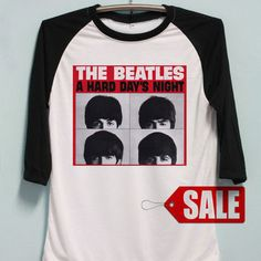 The Beatles Shirt Rock Band Tshirt Long Sleeve Unisex Baseball Shirts Raglan Jersey TShirt Black White Tee Men Women S M L Beatles Shirt, The Beatles, Black And White Tees, A Hard Days Night, Band Shirts, Baseball Shirts, Unisex, Sweatshirts, Long Sleeve