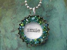 SMILE bottle cap necklace