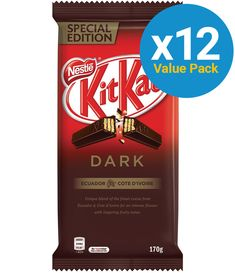 KitKat: Dark Chocolate Block 170g (12 Pack) Smarties Chocolate, Cadbury Dairy Milk, Electronic Gifts, Snack Bar, Cookies And Cream, Balanced Diet, Cocoa, Product Launch, Packing