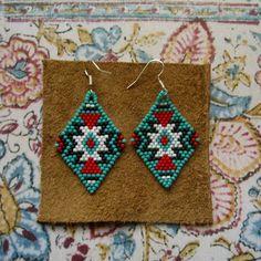 Beaded Earrings Native American Inspired by hoofandarrow on Etsy, $40.00