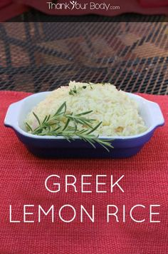 Try this Greek Lemon Rice the next time you grill! Jasmine rice simmered in tangy lemon, savory rosemary and chicken stock. Delicious with kebabs!