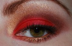Red and gold makeup