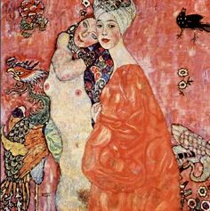 """""""클림트"""" - <여자 친구들> : 클림트는 여성 동성애에 대한 동경을 드러내는 작품이 많았다. 이 작품도 그 중 하나로 클림프 자신 또한 동성애를 하였으며 이는 육체적 만족에서 얻어지는 쾌락보다는 클림프 자신의 화두를 위한 탐구라고 볼 수 있다. 이 작품을 볼 때 동성애적 관계의 표현을 한국과 일본적 문양이 차용된 듯한 풍을 풍기고 있으며 특유의 부드럽고 화사한 색감을 통해 동양적인 느낌을 받게 한다. 또 한명은 나체이고 한명은 옷을 입은 점에서 배경의 색에 인물들이 뭍히지 않게 잘 표현한 것같다. 주위에 여러 생물들을 배치하고 이들을 모두 형형색색으로 하여 이 때문에 그림에서 발랄함과 유쾌함이 느껴진다."""