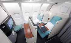 A first time flyer on Korean Air will find a configuration of 6 First Class seats arranged in three rows of two seats per row. The seats are about 26 Flying First Class, First Class Seats, Air Travel, Free Travel, Business Class, Business Travel, First Time Flyer, Airplane Interior, Rv Camping