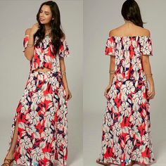 Floral Two Piece Set 100% Polyester. Elastic waist on skirt with front slits. MADE IN THE USA. DO NOT PURCHASE THIS LISTING. Comment on size/color and a separate listing will be made. Item is Brand New without tags by manufacturer. Offers placed on listing will be ignored. Dresses