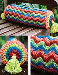 Free crochet Colourful Bolster Cushion pattern in UK terminology.