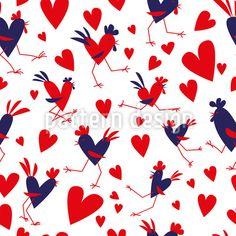 Verliebte Hähne Musterdesign by Anastasia Ivanova at patterndesigns.com Vektor Muster, Surface Design, Anastasia, Designer, Valentines Day, Romantic, Patterns, Cards, Farm Animals