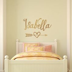 Gold Wall Decal Personalized Girl Name Decal Arrow Heart