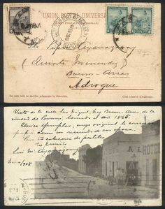 Rare postcard (view of San Miguel street, nowadays Buenos Aires, in Paraná, from a negative of the year 1865) franked by GJ.218 pair + 219 (defects), cancelled Paraná, sent to Adrogué, with handstamp of ALMIRANTE BROWN 4/FE/1908, VF and rare!    Dealer  Guillermo Jalil-Philatino    Auction  Minimum Bid:  50.00 US$