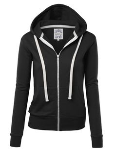 Women's Active Hoodies - Made By Johnny MBJ Womens Active Soft Zip Up Fleece Hoodie Sweater Jacket at Women's Clothing store: Hoodie Sweatshirts, Pullover Hoodie, Blue Hoodie, Navy Hoodies, White Hoodie, Fleece Sweater, Sweater Jacket, Streetwear, Black Zip Ups