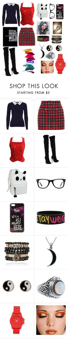 """""""Stay Weird"""" by yokotagirl ❤ liked on Polyvore featuring Filles à papa, Versace, Giuseppe Zanotti, Muse, FingerPrint Jewellry, Disney, Samantha Wills, Carolina Glamour Collection, Accessorize and Vince Camuto"""