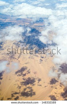 Aerial view landscape near Hurgada town over clouds in Egypt