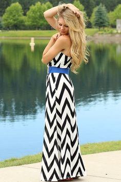 e444f477b99a It s Black It s White Chevron Maxi Dress - love the pop of color adding  that blue