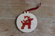 Laser cut reindeer bauble for Xmas....cross stitch the cut design!!! from Chris Webb trading as Lazy Crafternoons @ Folksy