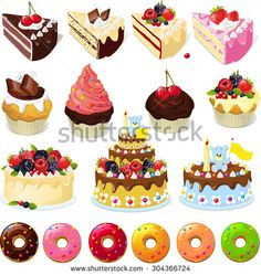 Set of sweets and cakes - vector illustration - stock vector