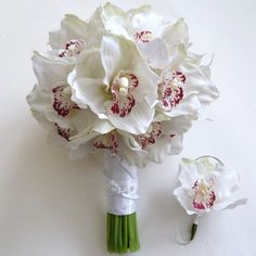 Orchid Wedding Bouquet & boutonniere set. LARGE by GlamFloral, $160.00