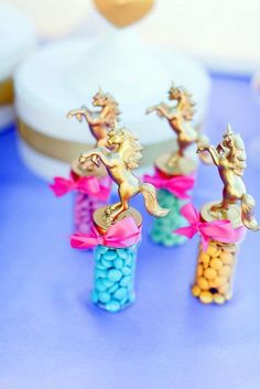 Unicorns, hearts, and  rainbows birthday party favors! See more party ideas at CatchMyParty.com!