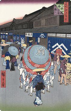 日本橋通一丁目略図|歌川広重|名所江戸百景|浮世絵のアダチ版画オンラインストア