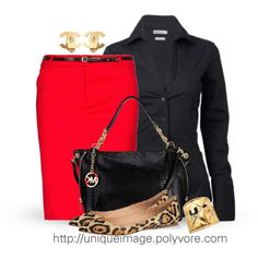 Red, Black & Gold, with Leopard Print .... Just switch those flats to heels and this outfit would be perfect!