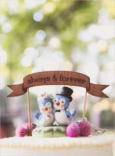 Always & Forever bird cake topper. Captured By: Sarah Murray Photography ---> http://www.weddingchicks.com/2014/05/13/quirky-budget-friendly-wedding/