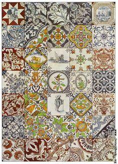 Alexander Speltz, The History of Ornament: Design in the Decorative Arts, 1915 [Picture: Dutch Ceramic Tiles] Antique Tiles, Vintage Tile, Patchwork Tiles, 17th Century Art, Mosaic Patterns, Design Patterns, Egyptian Art, Mosaic Tiles, Ceramic Pottery