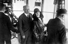 Grace Drummond-Hay and Karl von Wiegand in control car of LZ-127 Graf Zeppelin