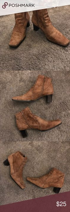 Franco Sarto Velvet Like Ankle Boots Sz 8.5 Great Pair of Ankle Boots in a Very Soft and Smooth Velvet Like Material ..Color is like a Cognac...2 Inch Heel. In Great Condition!!!! Size 5.5 Franco Sarto Shoes Ankle Boots & Booties