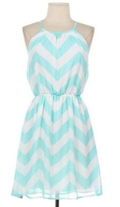 Mint Chevron Sleeveless Dress