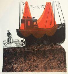 Sussex Boat & Nets (No Robert Tavener Figure Painting, Painting & Drawing, Lino Cuts, Woodblock Print, Printmaking, Nautical, Salt, Illustration Art, Fishing