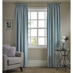 Wilko Pencil Pleat Thermal Blackout Curtains      Duck Egg 167 x 183cm