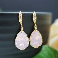 Pale Pink Rose Water Opal Swarovski Tear drop Bridesmaid Earrings