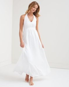 Deep V Halter Silk Wedding Dress / Tommy Bahama