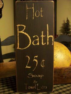 Primitive Handmade Wood Hot Bath SIgn