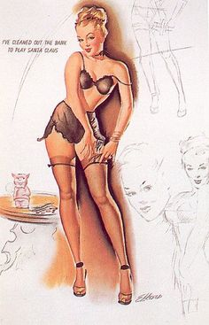 Freeman Elliot (b.1922)    Each page of these twelve-page calendars had a primary pin-up figure surrounded by several razor-crisp side sketches commenting in some way on the main picture. The large pin-up was painted in gouache, Elliot's favourite medium, the smaller sketches done in pencil.