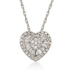 """.31 ct. t.w. Diamond Heart Pendant Necklace in 14kt White Gold. 18"""""""