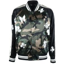 Valentino Mariposa Camouflage Bomber (€1.549) ❤ liked on Polyvore featuring outerwear, jackets, camo jacket, camoflage jacket, camouflage jacket, valentino jacket and camo print jacket