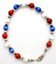 """Sterling Silver Cats Eye Bead Bracelet Red White & Blue Beads Vintage 7.25"""" Long 
