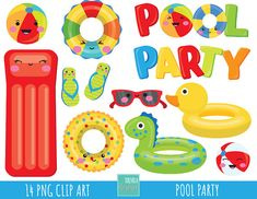 80% SALE pool party clipart, summer clipart, commercial use, pool graphics, pool toys clipart, instant download, party